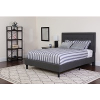 King Platform Bed Dark Gray