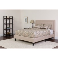 King Platform Bed Set Beige