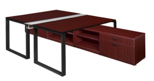 "Structure 60"" x 24"" Benching System with Low Credenza Storage  - Mahogany/ Black"
