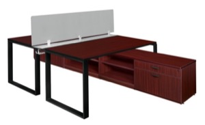 "Structure 60"" x 24"" Privacy Divider Benching System with Low Credenza Storage - Mahogany/ Black"