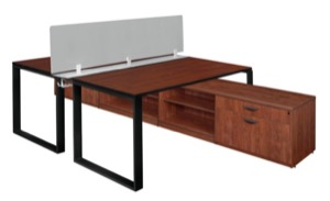 "Structure 66"" x 24"" Privacy Divider Benching System with Low Credenza Storage  - Cherry/ Black"