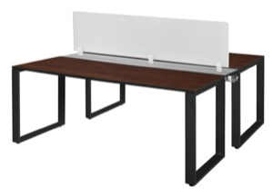 "Structure 72"" x 24"" Benching System with Privacy Divider  - Cherry/ Black"