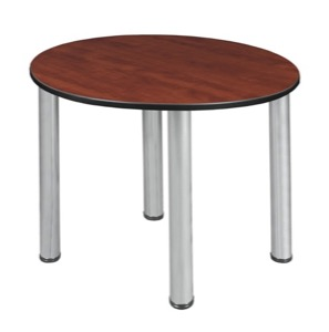 "Kee 30"" Round Slim Table  - Cherry/ Chrome"