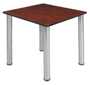 "Kee 30"" Square Slim Table  - Cherry/ Chrome"