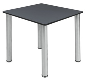 "Kee 30"" Square Slim Table  - Grey/ Chrome"