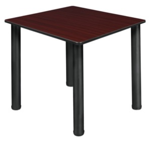 "Kee 30"" Square Slim Table  - Mahogany/ Black"