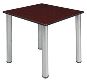 "Kee 30"" Square Slim Table  - Mahogany/ Chrome"