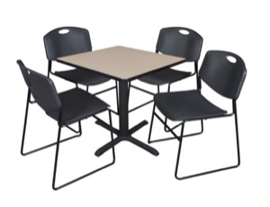 "Cain 30"" Square Breakroom Table - Beige & 4 Zeng Stack Chairs - Black"