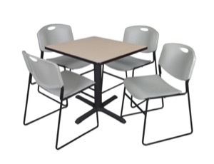 "Cain 30"" Square Breakroom Table - Beige & 4 Zeng Stack Chairs - Grey"