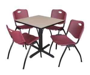 "Cain 30"" Square Breakroom Table - Beige & 4 'M' Stack Chairs - Burgundy"