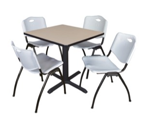"Cain 30"" Square Breakroom Table - Beige & 4 'M' Stack Chairs - Grey"