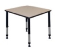 "Kee 30"" Square Height Adjustable Classroom Table  - Beige"