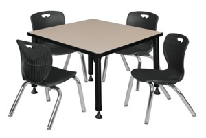 "Kee 30"" Square Height Adjustable  Classroom Table  - Beige & 4 Andy 12-in Stack Chairs - Black"