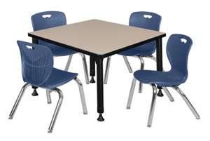 "Kee 30"" Square Height Adjustable  Classroom Table  - Beige & 4 Andy 12-in Stack Chairs - Navy Blue"