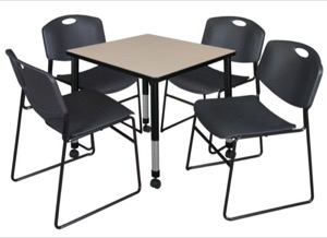 "Kee 30"" Square Height Adjustable Mobile  Classroom Table  - Beige & 4 Zeng Stack Chairs - Black"