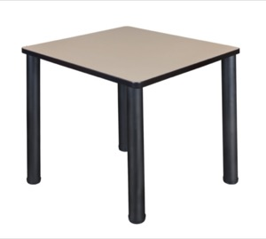 "Kee 30"" Square Breakroom Table - Beige/ Black"