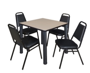 "Kee 30"" Square Breakroom Table - Beige/ Black & 4 Restaurant Stack Chairs - Black"