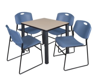 "Kee 30"" Square Breakroom Table - Beige/ Black & 4 Zeng Stack Chairs - Blue"