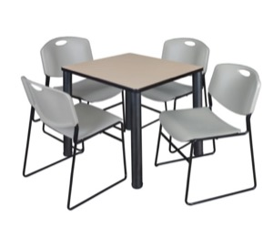 "Kee 30"" Square Breakroom Table - Beige/ Black & 4 Zeng Stack Chairs - Grey"