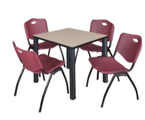 "Kee 30"" Square Breakroom Table - Beige/ Black & 4 'M' Stack Chairs - Burgundy"