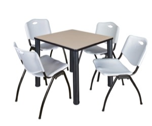 "Kee 30"" Square Breakroom Table - Beige/ Black & 4 'M' Stack Chairs - Grey"