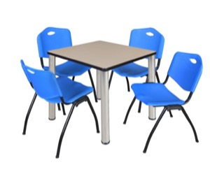 "Kee 30"" Square Breakroom Table - Beige/ Chrome & 4 'M' Stack Chairs - Blue"