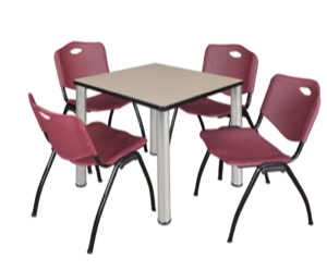 "Kee 30"" Square Breakroom Table - Beige/ Chrome & 4 'M' Stack Chairs - Burgundy"