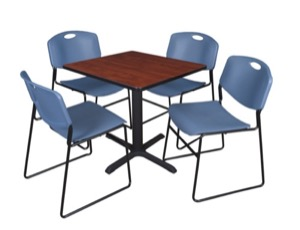 "Cain 30"" Square Breakroom Table - Cherry & 4 Zeng Stack Chairs - Blue"