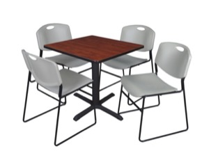 "Cain 30"" Square Breakroom Table - Cherry & 4 Zeng Stack Chairs - Grey"