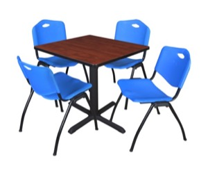 "Cain 30"" Square Breakroom Table - Cherry & 4 'M' Stack Chairs - Blue"