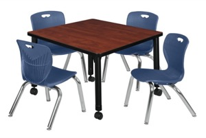 "Kee 30"" Square Height Adjustable  Mobile Classroom Table  - Cherry & 4 Andy 12-in Stack Chairs - Navy Blue"