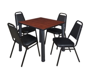 "Kee 30"" Square Breakroom Table - Cherry/ Black & 4 Restaurant Stack Chairs - Black"