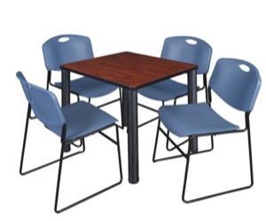 "Kee 30"" Square Breakroom Table - Cherry/ Black & 4 Zeng Stack Chairs - Blue"