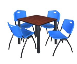 "Kee 30"" Square Breakroom Table - Cherry/ Black & 4 'M' Stack Chairs - Blue"