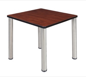 "Kee 30"" Square Breakroom Table - Cherry/ Chrome"