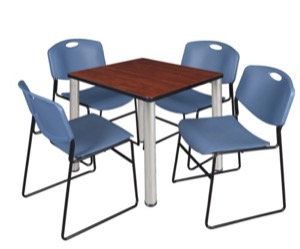 "Kee 30"" Square Breakroom Table - Cherry/ Chrome & 4 Zeng Stack Chairs - Blue"
