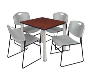 "Kee 30"" Square Breakroom Table - Cherry/ Chrome & 4 Zeng Stack Chairs - Grey"