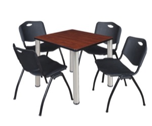 "Kee 30"" Square Breakroom Table - Cherry/ Chrome & 4 'M' Stack Chairs - Black"