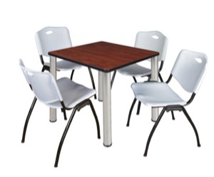 "Kee 30"" Square Breakroom Table - Cherry/ Chrome & 4 'M' Stack Chairs - Grey"
