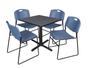 "Cain 30"" Square Breakroom Table - Grey & 4 Zeng Stack Chairs - Blue"