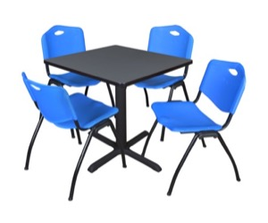 "Cain 30"" Square Breakroom Table - Grey & 4 'M' Stack Chairs - Blue"