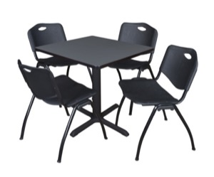 "Cain 30"" Square Breakroom Table - Grey & 4 'M' Stack Chairs - Black"
