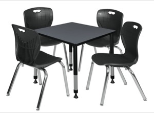 "Kee 30"" Square Height Adjustable Classroom Table  - Grey & 4 Andy 18-in Stack Chairs - Black"