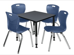 "Kee 30"" Square Height Adjustable Classroom Table  - Grey & 4 Andy 18-in Stack Chairs - Navy Blue"