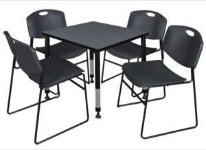 "Kee 30"" Square Height Adjustable Classroom Table  - Grey & 4 Zeng Stack Chairs - Black"
