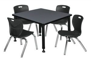 "Kee 30"" Square Height Adjustable Classroom Table  - Grey & 4 Andy 12-in Stack Chairs - Black"