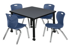 "Kee 30"" Square Height Adjustable Mobile Classroom Table  - Grey &  4 Andy 12-in Stack Chairs - Navy Blue"
