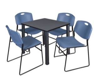 "Kee 30"" Square Breakroom Table - Grey/ Black & 4 Zeng Stack Chairs - Blue"