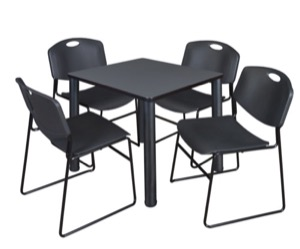 "Kee 30"" Square Breakroom Table - Grey/ Black & 4 Zeng Stack Chairs - Black"