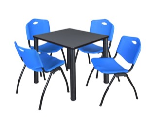 "Kee 30"" Square Breakroom Table - Grey/ Black & 4 'M' Stack Chairs - Blue"